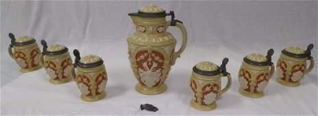 German Pottery Bear Stein Set