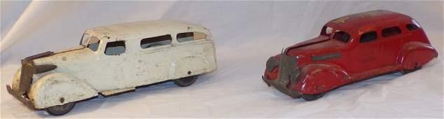 2 Vintage Pressed Steel Toy Cars