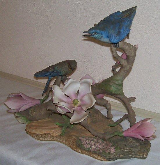 1: Boehm Porcelain - Pr/Mountain Bluebird w/Magnolias
