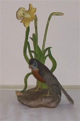 3: Boehm Porcelain - Robin w/Daffodil #477