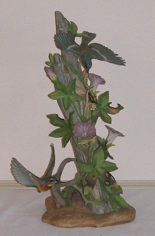 8: Boehm Porcelain - Parula Warblers w/Morning Glories