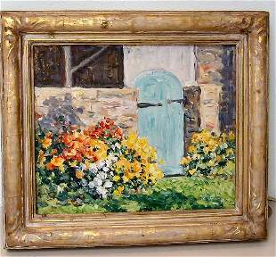 24: Henry A. Rand - Oil Painting - Garden Gate