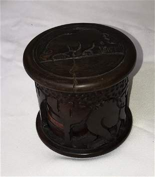 Carved Wooden Canister wCoasters