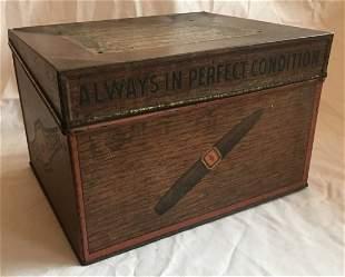 Vintage Tin Advertising Cigar Box/Humidor