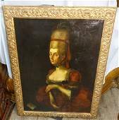 ANTIQUE PORTRAIT OF A WOMAN OIL ON CANVAS PAINTING