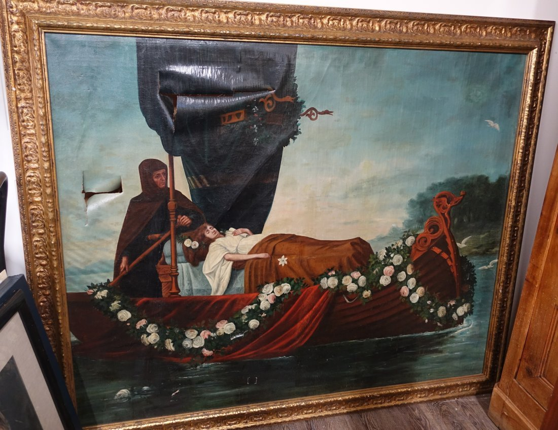 ANTIQUE OIL ON CANVAS OF A SEA VIKING BURIAL PAINTING