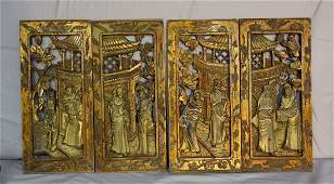 FOUR ANTIQUE CHINESE WOOD CARVED PLAQUES PANELS