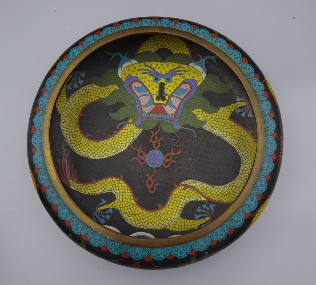 QING DYNASTY CHINESE CLOISONNE DRAGON CENSER