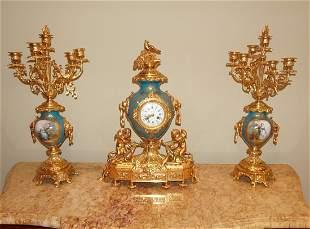 ANTIQUE FRENCH  H. LUPPENS GILT BRONZE CHERUB CLOCK SET
