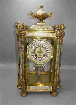 RARE JAPY FRERES CHAMPLEVE FRENCH CLOCK