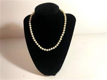 White Pearl Necklace 14K White Gold Clasp 16""