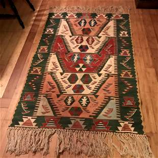 Turkish Handmade Kilim Rug Handwoven Wool Floor Carpet