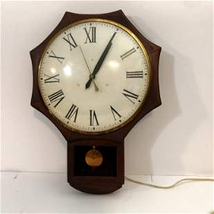 Vintage UNITED CLOCK CORP Wall Clock Schoolhouse