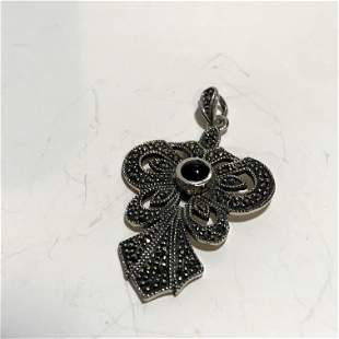 Large Vintage ART DECO Design Sterling Silver Marcasite
