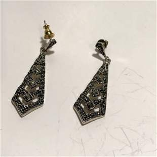 Vintage Sterling Silver Marcasite Dangle Earrings