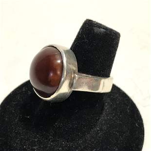 AntiqueRed Brown Agate stone Sterling Silver 925 Ring