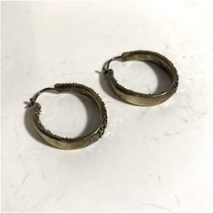Gorgeous Sterling Silver Marcasite Hoop Dangle Earrings