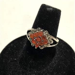Vintage Sterling Silver brown agate cluster Ring 7