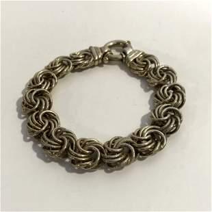 Vintage Thick Sterling Silver Bracelet