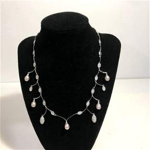 Vintage Sterling Silver and Pearl Necklace 16""
