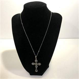 Vintage Signed RINC 925 Sterling Silver Marcasite Cross