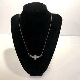 Beautiful Sterling Silver Mother Of Pearl Necklace and