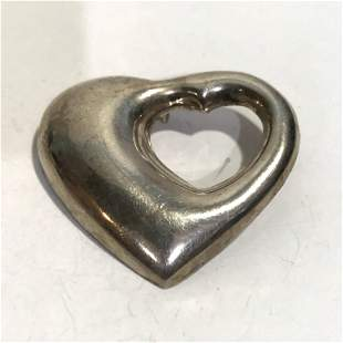 Vintage Large Sterling Silver Double Heart Large .925