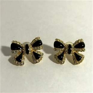 Vintage Joan Rivers Signed Bow Earrings Black Enamel
