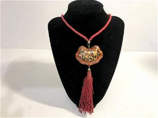 Vintage Small Cloisonne Pendant on Cord NECKLACE - Red