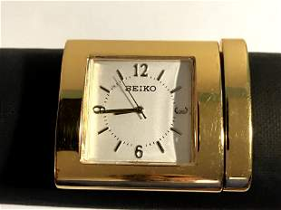 vintage seiko Mini desk Gold Tone clock Works!!!