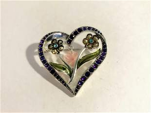 Vintage Silver Tone Heart Pin Brooch With Flowers and