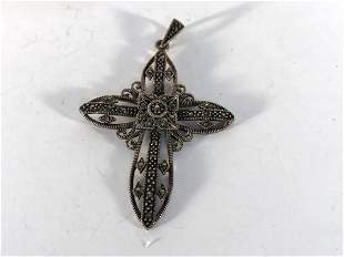 Vintage Sterling Silver 925 Ornate Filigree Marcasite