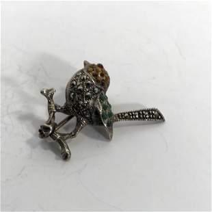 Vintage Sterling Silver Marcasite Bird Pin Brooch 1