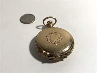 Antique Gold Filled 7J Elgin Small Mens Pocket Watch
