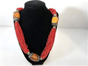 """Vintage Pink and Amber Large Beaded Necklace 26"""""""