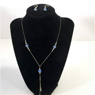 Vintage Sterling Silver Blue Stone Necklace & Earrings