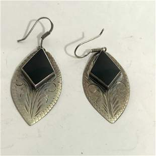 Vintage Earrings MARKED NF 925 Sterling Silver dangle