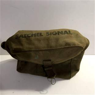WWII US Army Satchel Signal Canvas Shoulder Bag with