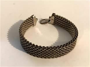 """Vintage Sterling Silver Mesh Thick .925 Bracelet 2 1/2"""""""