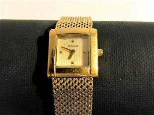 Vintage Women's Bulova Gold Tone Dress Watch Works