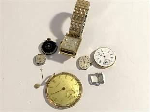 Vintage Lot Of Watch Parts Crawford, Bulova, Hamden,