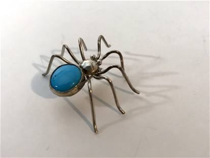 Sterling Silver 925 Sleeping Beauty Turquoise Spider