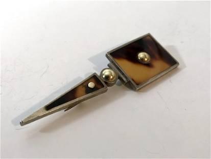 """Laurence DeVries Sterling Silver & 18k brooch 3 1/2"""""""