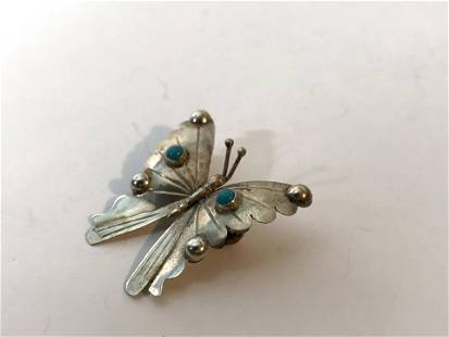 Navajo American Sterling Silver Butterfly Turquoise