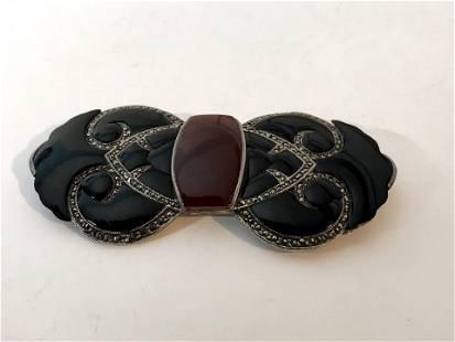 Sterling Silver Vintage Large Black Onyx, Marcasite &
