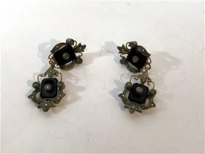 Vtg 925 Sterling Silver Marcasite Black Onyx Dangle