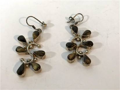 Vintage Mexico 925 Sterling S Shaped Drop Earrings