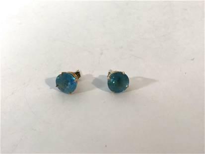 14k Yellow Gold Blue Topaz Post Stud Earrings