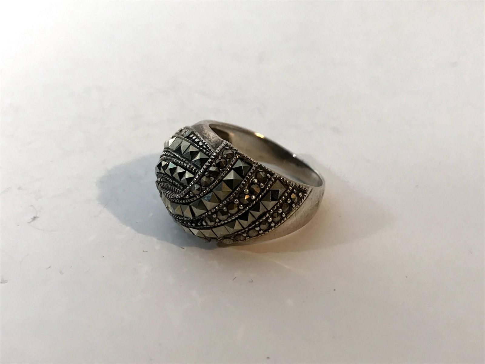 Vintage Sterling Silver Marcasite Art Deco Ring Size 9