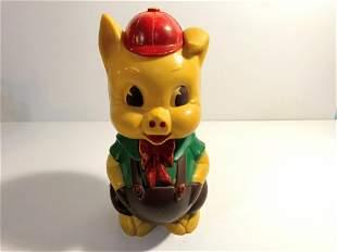 Vintage Ideal Piggy Bank Hard Plastic Doll Pig Figure